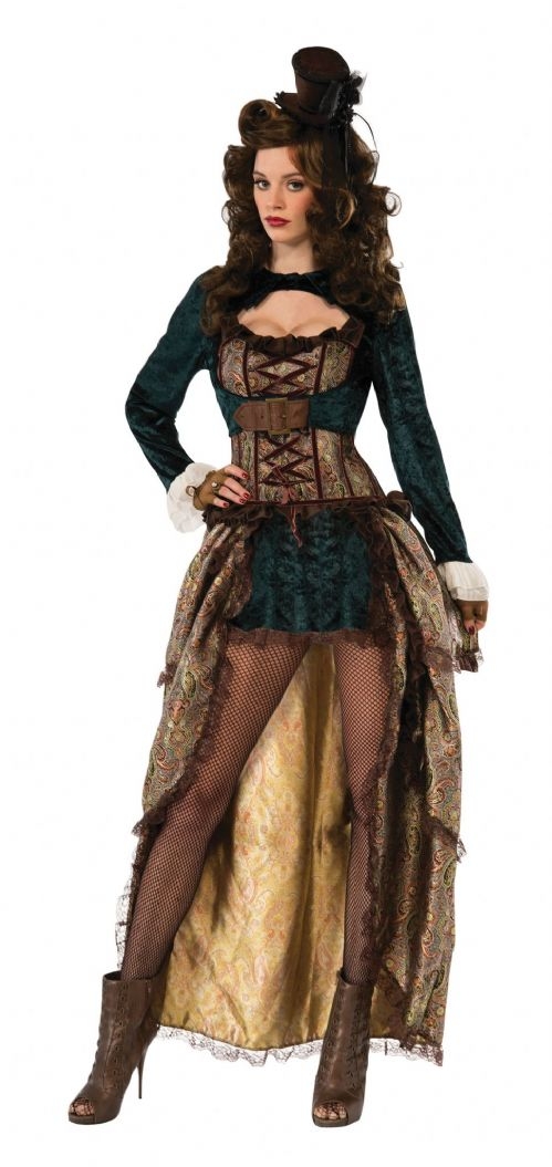 Ladies Madame Steampunk Costume Regency Queen Princess Lady Fancy Dress Outfit